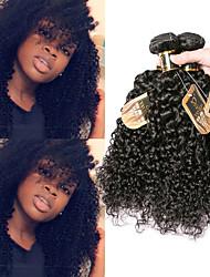 cheap -3 Bundles Indian Hair Kinky Curly Virgin Human Hair 100% Remy Hair Weave Bundles Natural Color Hair Weaves / Hair Bulk Extension Bundle Hair 8-28 inch Natural Color Human Hair Weaves Odor Free Sexy