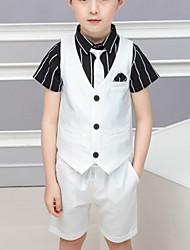 abordables -Enfants Garçon Basique Rayé Mosaïque Manches Courtes Court Court Coton Costume & Blazer Blanche