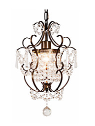 cheap -1-Light Crystal Pendant Light Ambient Chandelier Lights Rustic Pendant Light Fixtures for Foyer Adjustable Island Hanging Lighting for Living Room