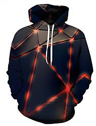 cheap -Men's Plus Size Hoodie Geometric 3D Hooded Casual Street chic Hoodies Sweatshirts  Blue / Skinny