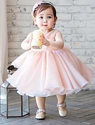 cheap -A-Line Tea Length Flower Girl Dress - Chiffon Sleeveless Jewel Neck with Splicing