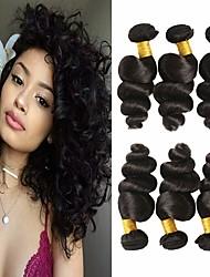 cheap -6 Bundles Peruvian Hair Loose Wave Virgin Human Hair Unprocessed Human Hair Headpiece Natural Color Hair Weaves / Hair Bulk Extension 8-28 inch Natural Color Human Hair Weaves Odor Free Best Quality