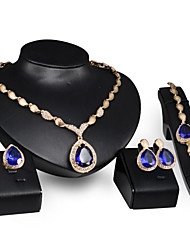 cheap -Women's Blue Synthetic Aquamarine Bridal Jewelry Sets Briolette Drop Stylish Gold Plated Earrings Jewelry Gold For Party Daily 1 set