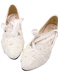 cheap -Women's Wedding Shoes Lace up Flat Heel Round Toe PU Casual Summer White
