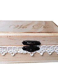 cheap -We Do Rustic Wooden Wedding Ring Bearer Box Creative Lace Decorated Lockable Ring Holder Box