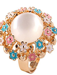 cheap -Women's Open Ring 1pc Rainbow Chrome Round Sweet Daily Jewelry Hollow Out Flower