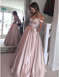 cheap -Ball Gown Off Shoulder Floor Length Satin Elegant Prom Dress with Beading 2020