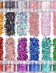 cheap -Holographic Chunky Glitter 12 Colors Total 120g Face Body Eye Hair Nail Festival Chunky Holographic Glitter Different Size Stars and Hexagons Shaped