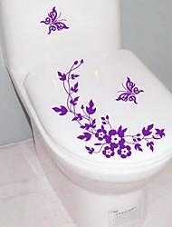 abordables -Yiwu pho_07al Papillon Fleur Amovible Sticker Mural Décoration De La Maison Papier Peint Fleur Autocollant De Toilette Rose