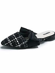 cheap -Women's Clogs & Mules Flat Heel Bowknot Cotton Casual Spring Black / White