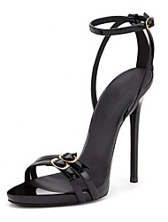 cheap -Women's Sandals Stiletto Heel Open Toe Buckle Faux Leather Minimalism Fall / Spring & Summer Black / Party & Evening
