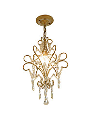 cheap -Vintage Metal/Crystal Chandelier Antique Iron Art Chandelier with Hanging Crystal Ceiling Light Fixture Hanging Height Adjustable Golden