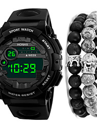 cheap -Men's Sport Watch Digital Outdoor Water Resistant / Waterproof Black Digital - Black / Blue Black Black / Red One Year Battery Life / Calendar / date / day / Chronograph / Stopwatch / Large Dial