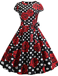 cheap -Audrey Hepburn Country Girl Polka Dots Floral Retro Vintage 1950s Rockabilly Dress Masquerade Women's Costume Black / Red Vintage Cosplay Party School Office Sleeveless Medium Length A-Line / Belt