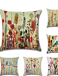cheap -6 pcs Linen Pillow Cover, Animal Floral Print Classic Rustic Throw Pillow