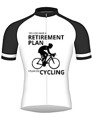 cheap -21Grams Retirement Plan Men's Short Sleeve Cycling Jersey - Black / White Bike Jersey Top Breathable Quick Dry Reflective Strips Sports 100% Polyester Mountain Bike MTB Road Bike Cycling Clothing