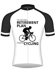 abordables -21Grams Homme Manches Courtes Maillot Velo Cyclisme Noir / Blanc Cyclisme Maillot Hauts / Top Respirable Séchage rapide Bandes Réfléchissantes Des sports 100 % Polyester VTT Vélo tout terrain Vélo