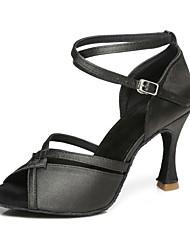 cheap -Women's Dance Shoes Satin Latin Shoes Heel Flared Heel Black / Bronze / Pink / White / Performance / Practice