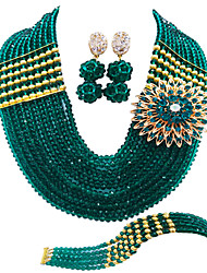 cheap -Women's Necklace Earrings Bracelet Beads Lucky Elegant Africa Earrings Jewelry Light Yellow / Green / Transparent For Wedding Party Gift Daily Festival 1 set