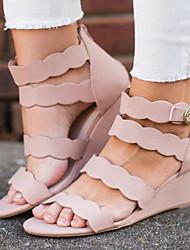cheap -Women's Sandals Wedge Heel PU Summer Black / Pink