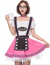 cheap -Oktoberfest Beer Dirndl Trachtenkleider Women's Blouse Dress Bavarian Costume Blushing Pink