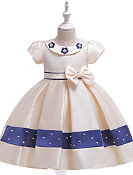 cheap -Ball Gown / Princess Knee Length Flower Girl Dress - Tulle / Poly&Cotton Blend Short Sleeve Jewel Neck with Bow(s) / Pattern / Print / Sash / Ribbon / Formal Evening