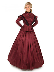 cheap -Duchess Victorian Ball Gown 1910s Edwardian Dress Party Costume Women's Costume Red Vintage Cosplay Masquerade Long Sleeve Floor Length Long Length Ball Gown Plus Size / Blouse / Blouse