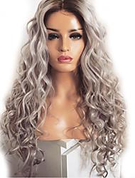 Недорогие -Парики из искусственных волос Естественные кудри Kardashian Стиль Средняя часть Без шапочки-основы Парик Серый Искусственные волосы 60~65 дюймовый Жен. Новое поступление Темно-серый Парик