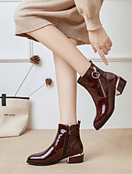 cheap -Women's Boots Chunky Heel Pointed Toe Patent Leather Booties / Ankle Boots British Fall & Winter Black / Burgundy / Dark Blue / Party & Evening