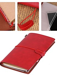 cheap -1pc 108 sheets/216 pages+1 card holder Refillable Vintage Leather Notebook Handmade Travel Journal Writing Diary Gift for Men & Women Red