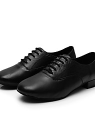 cheap -Men's Modern Shoes / Ballroom Shoes Cowhide Lace-up Heel Crystal / Rhinestone Thick Heel Customizable Dance Shoes Black / White / Performance / Practice