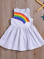 cheap -Kids Girls' Active Cute White Polka Dot Print Sleeveless Above Knee Dress White