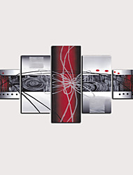 cheap -Print Rolled Canvas Prints - Abstract Botanical Classic Modern Five Panels Art Prints