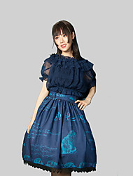 cheap -Gothic Style Gothic Lolita Gothic Skirt Female Japanese Cosplay Costumes White / Black / Blue Stitching Lace Floral Print Lace Sleeveless Sleeveless Midi