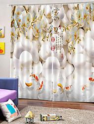 Недорогие -3d цифровая печать на заказ полиэстер китайский стиль конфиденциальности две панели занавес для гостиной столовой декоративные водонепроницаемые пылезащитные шторы