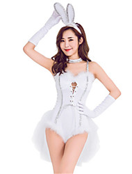 cheap -Bunny Girl Dress Cosplay Costume Masquerade Adults' Women's Cosplay Halloween Christmas Halloween Carnival Festival / Holiday Polyster White Women's Carnival Costumes Holiday Rabbit / Bunny Halloween