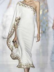 cheap -Women's Party Slim Sheath Dress - Solid Colored Off Shoulder White S M L XL