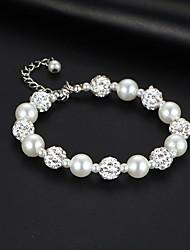 cheap -Women's Bead Bracelet Bracelet Classic Ball Korean Sweet Fashion Elegant Imitation Pearl Bracelet Jewelry Silver For Wedding Party Engagement Gift Daily / Imitation Diamond