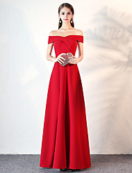 cheap -A-Line Off Shoulder Floor Length Satin Elegant / Vintage Inspired Prom Dress with 2020
