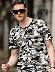 cheap -Men's Hiking Shirt / Button Down Shirts Short Sleeve Outdoor Portable Top Polyester Green Blue