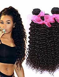 cheap -3 Bundles Brazilian Hair Kinky Curly Virgin Human Hair 100% Remy Hair Weave Bundles Headpiece Natural Color Hair Weaves / Hair Bulk Extension 8-28 inch Natural Color Human Hair Weaves Newborn Classic