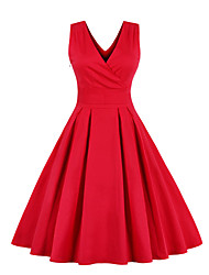 cheap -Women's Chiffon Dress - Sleeveless Solid Colored Bow Pleated V Neck 1950s Vintage Going out Belt Not Included Slim Red Royal Blue S M L XL XXL XXXL XXXXL