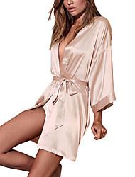 abordables -Dongguan pby_04q2 dimensions secrète pyjama en soie cardigan dentelle peignoirs maison pyjama champagne_one taille
