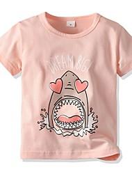 cheap -Kids Girls' Basic Print Short Sleeve Cotton Tee Blushing Pink