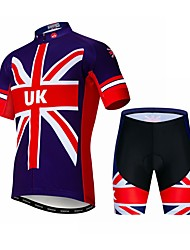 cheap -21Grams UK National Flag Men's Short Sleeve Cycling Jersey with Shorts - Red+Blue Bike Clothing Suit Breathable Quick Dry Sports Elastane Terylene Mountain Bike MTB Road Bike Cycling Clothing Apparel