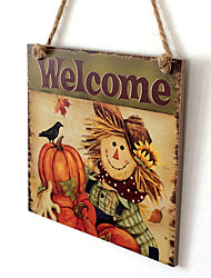 cheap -Wooden Door Plaque Thanksgiving Scarecrow Wall Doorplate Hanging Sign Home Bar Decoration