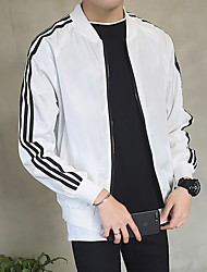 cheap -Men's Daily Regular Jacket, Solid Colored Stand Long Sleeve Polyester White / Black / Red