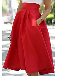 cheap -Women's Street chic A Line Skirts - Solid Colored Green Black Red M L XL