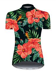 Недорогие -21Grams Цветочные ботанический Гавайи Жен. С короткими рукавами Велокофты - Черный / красный Велоспорт Джерси Верхняя часть Дышащий Быстровысыхающий Со светоотражающими полосками Виды спорта 100