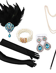 cheap -The Great Gatsby Necklace Earrings Retro Vintage 1920s The Great Gatsby Artificial feather Costume Accessory Sets Gloves Necklace For Party / Cocktail Festival Halloween Carnival Women's Costume